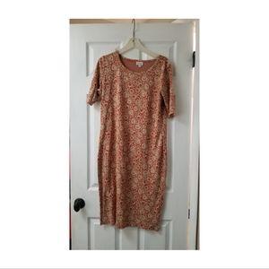 Lularoe Julia Midi Formfit Dress in Fall Print